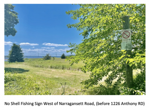 """You will see some new """"no shell fishing"""" signs up (thank you to our hard working Trustees and the RIDEM)"""